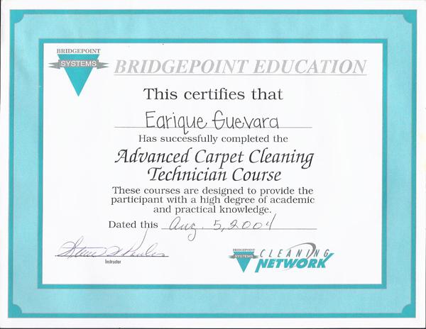 Bridgepoint Education Certification For Advanced Carpet